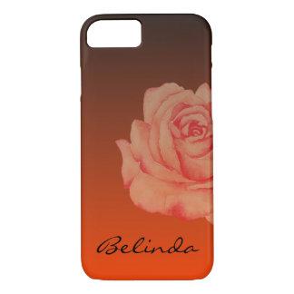 Peach Rose Burnt Orange Ombre Black iPhone 8/7 Case