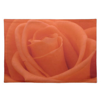 Peach Rose Floral Image Woven Cotton Placemats