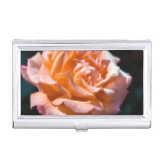 Peach Rose Glow Flower Business Card Holder