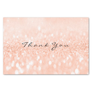 Peach Rose Gold Blush Glitter Thank You Name Tissue Paper