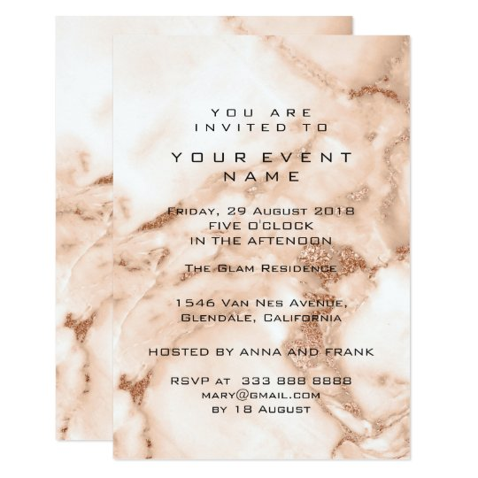 Peach Rose Gold Marble Minimal Event Luxury Card