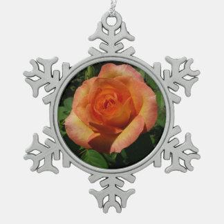 Peach Rose Orange Floral Pewter Snowflake Decoration