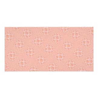 Peach Rose Pattern Customized Photo Card