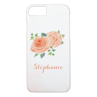 Peach Rose Pretty Watercolor iPhone 8/7 Case