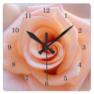 Peach Rose Square Wall Clock