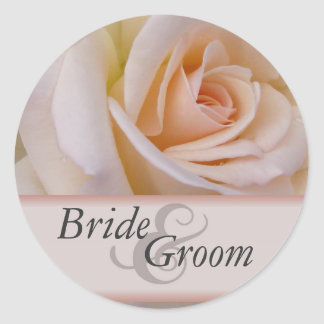 Peach rose stickers for bride and groom