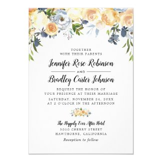Peach Rose Watercolor Floral Wedding Invitation