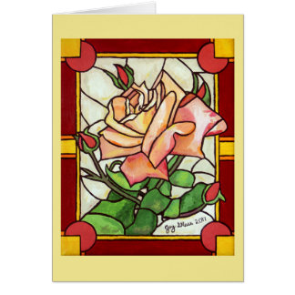 Peach Rose Window Greeting Card