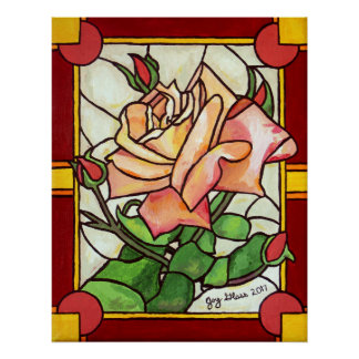 Peach Rose Window Poster