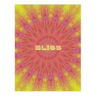 Peach Rose Yellow 'Bliss' Mandela Pattern Postcard