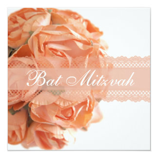 Peach Roses and Lace Bat Mitzvah Invitation