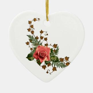 Peach Roses Ceramic Heart Decoration