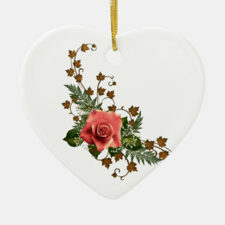 Peach Roses Christmas Ornament