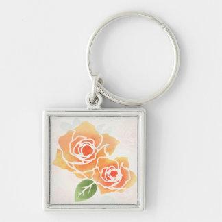 Peach Roses Keychain
