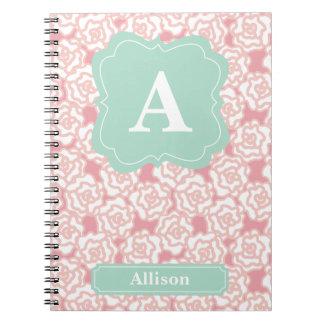Peach Roses Mint Monogram Spiral Notebook