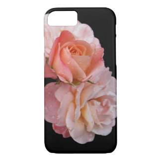 Peach Roses On Black Background iPhone 8/7 Case