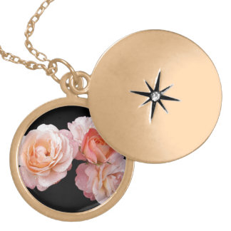 Peach Roses On Black Background Necklace