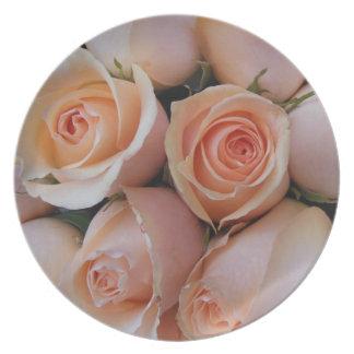 Peach Roses Plate