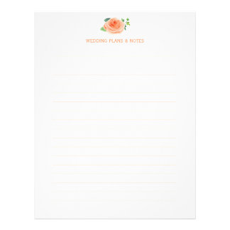 Peach Roses Wedding Planning Pages