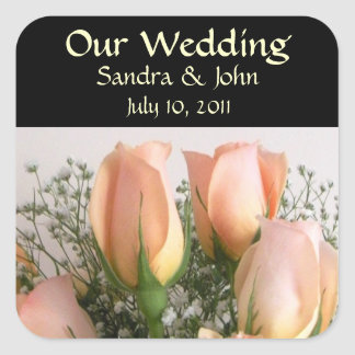 Peach Roses Wedding Stickers