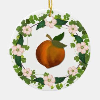Peach Round Ceramic Decoration