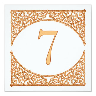 Peach Rustic Country Wood Screen Table Number 7 13 Cm X 13 Cm Square Invitation Card