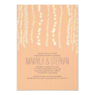 Peach Rustic String of Lights Engagement Party 13 Cm X 18 Cm Invitation Card