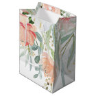 Peach Sage Green Watercolor Flowers MEDIUM Bags