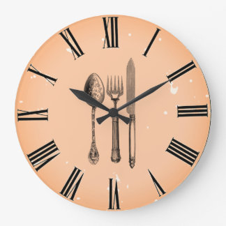 Peach-Sangria-Silverware- Large Clock