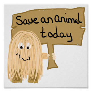 Peach save animal poster