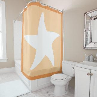 Peach Sea Star Shower Curtain