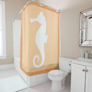 Peach Seahorse Shower Curtain