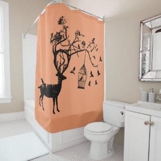peach  shower curtain Abstract deer bird nature