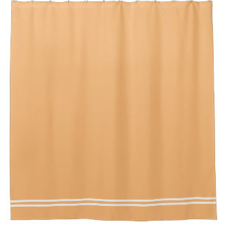 Peach shower curtain with double line border