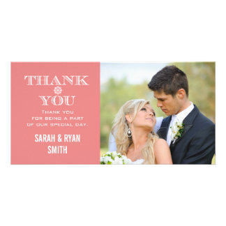 Peach Snowflake Wedding Photo Thank You Cards Photo Greeting Card