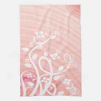 Peach Spirals, Filigree and Flowers Tea Towel
