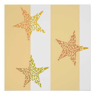 Peach Stars and Stripes Posters