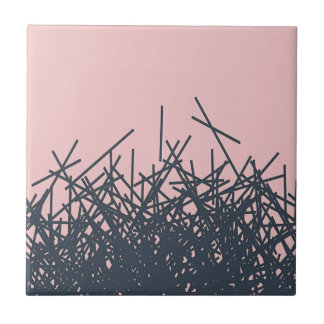 Peach Stylish Trendy Dark Modern Abstract Line Art Small Square Tile
