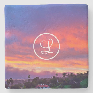 Peach sunrise photo custom monogram stone coaster