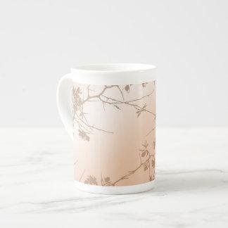 Peach Swirling Vines Bone China Mugs