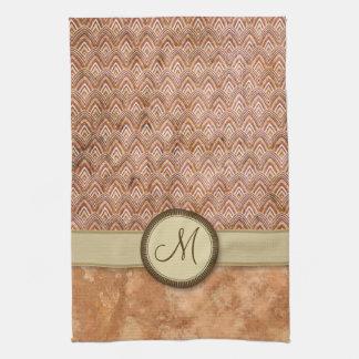 Peach Tan Feather Pattern with Monogram Tea Towel