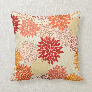 Peach Tangerine Mums Cushion
