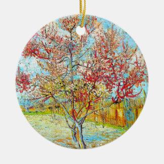 Peach Tree in Bloom at Arles, Van Gogh Round Ceramic Decoration
