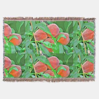 Peach Tree in Cartoon Throw Blanket