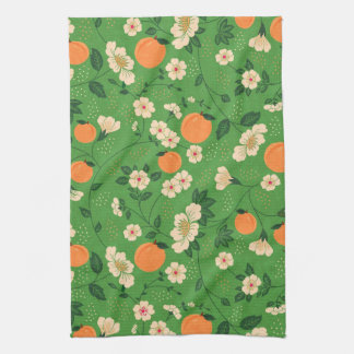Peach Tree on Green Background Tea Towel