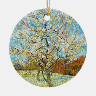 Peach Trees in Blossom Vincent Van Gogh Round Ceramic Decoration