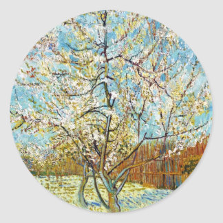 Peach Trees in Blossom Vincent Van Gogh Classic Round Sticker