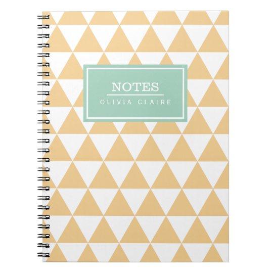 Peach Triangle Pattern Mint Name Template Notebooks