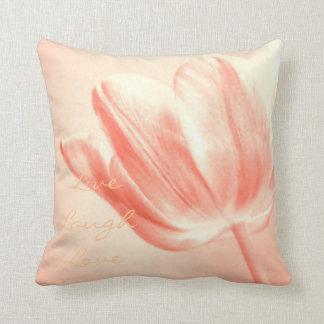 Peach Tulip Live, Laugh, Love Cushion