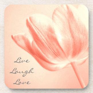 Peach Tulip Live, Laugh, Love Drink Coaster